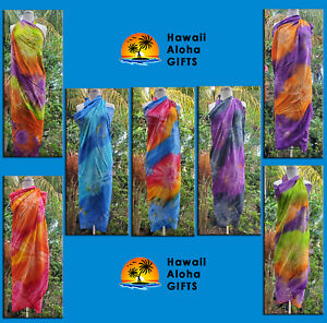New Women Tie Dye Cover-up Sarong Pareo Wrap Dress 100% Rayon