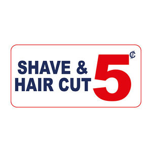 Shave & Hair Cut 5c Custom Retro Vintage Style Metal Sign - 8 In X 12 In