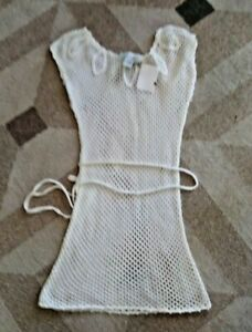 Sweater Project Swim Suit Beach Cover Up Dress Ivory Knit Crochet Large