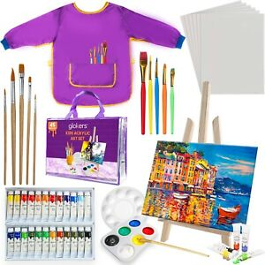 Glokers 45 Kids Painting Supplies Set, Art Set With Acrylic Paints & Accessories