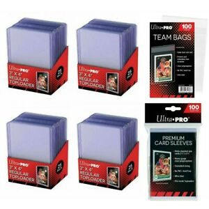 (100) Ultra Pro 3 X 4 Toploaders + (100) Premium Soft Sleeves + (100) Team Bags