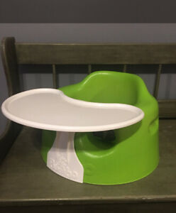 Lime Green Baby Bumbo Seat With Tray Safety And Belt Euc