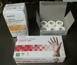 Wound Care Lot Of 3 New Mckesson Items 4x4 Gauze Sponges Paper Tape Med Gloves