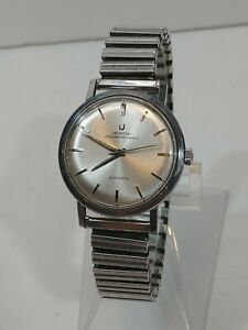 Vintage Universal Geneve Polerouter Men's Automatic Watch Stainless Silver Dial