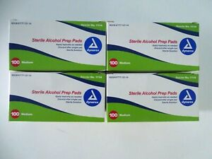 4 Boxes Of Dynarex Sterile Alcohol Prep Pad Wipes - Medium, 100 Count - Exp 2023