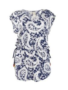 Anne Cole Women's Paisley Printed Tunic Swim Top Cover-up (xs/s, Navy/white)
