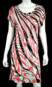 Emilio Pucci Multi-color Abstract Jersey Short Sleeve Sheath Dress 44