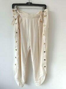 Emilio Pucci Cream Silk Pants With Gold Buttons Size 10