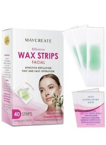 Maycreate Hair Removal Waxing Strips For Face Legs Underarms Brazilian (40 Pack)