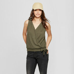 Universal Thread Women's Wrap Front Knot Blouse - Olive - Xs   #r79
