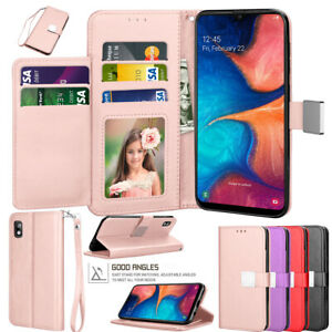 For Samsung Galaxy A10e A20 A50 Cards Slots Leather Wallet Case Flip Stand Cover
