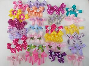 50  Fancy Dog Pet Child Baby Grooming Bows 2 Sizes Color Variety Lot  # 161