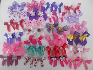 50 Bling Fancy Dog Pet Child Baby Grooming Bows 2 Sizes Color Variety Lot  # 7