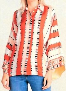 Emilio Pucci Womens Blouse Orange Stripe Long Bell Sleeve V Neck Collar Italy 6