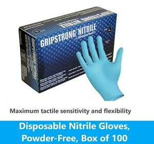 Dynarex Safe Touch Blue Nitrile Exam Gloves, Powder-free, Medium, 100/bx