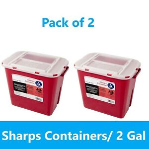 2 Pack! Sharps 2 Gallon Biohazard Container Needle Disposal Doctor Dynarex