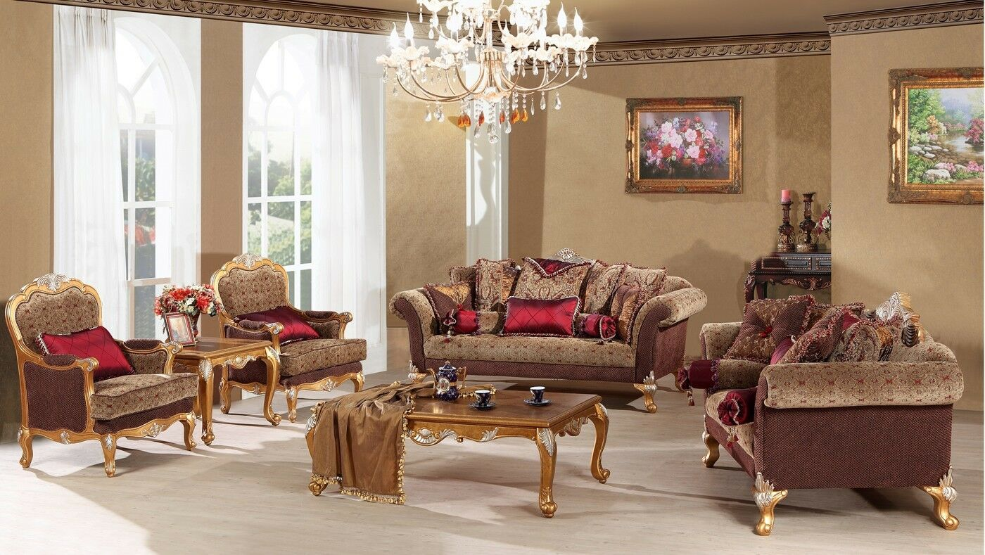 Sofa Set Living Room Sofa Loveseat Chair Set Traditional Couch Set 4 Pc