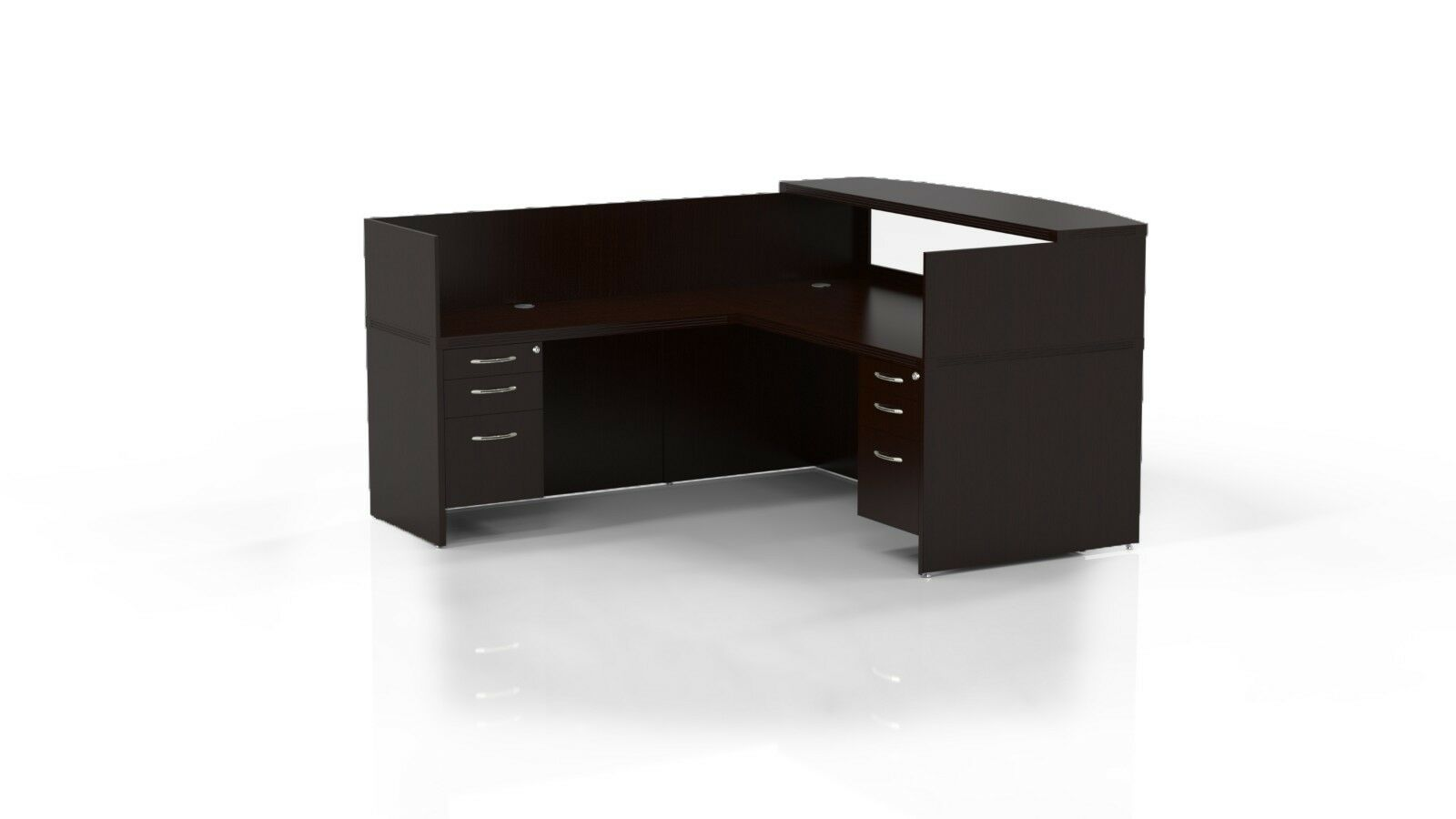 Mayline Aberdeen Reversible L Shape Mocha Reception Desk W Textured Glass 1 Of 2only 5 Available