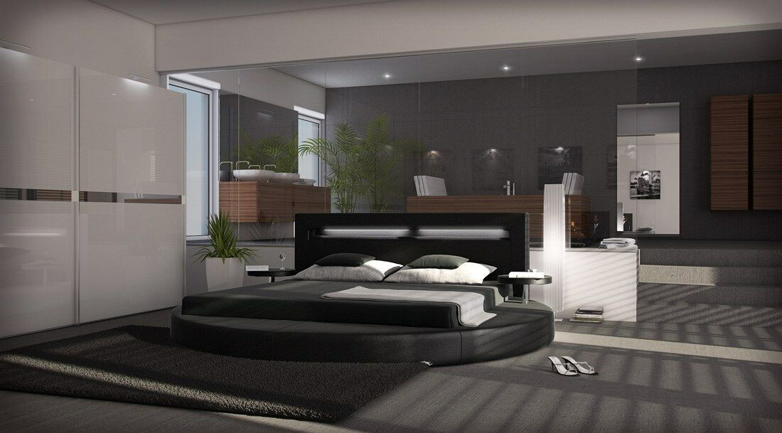 rundbett design bett rund night polsterbett ehebett doppelbett mit nachttischen eur 699 00. Black Bedroom Furniture Sets. Home Design Ideas