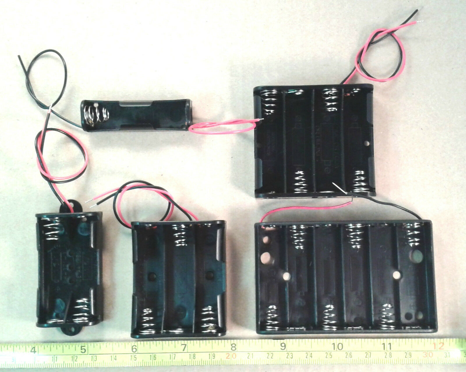 AA / UM-3 Wired Battery Box in 1, 2, 3, 4 or 6 Cell Holder Sizes ...