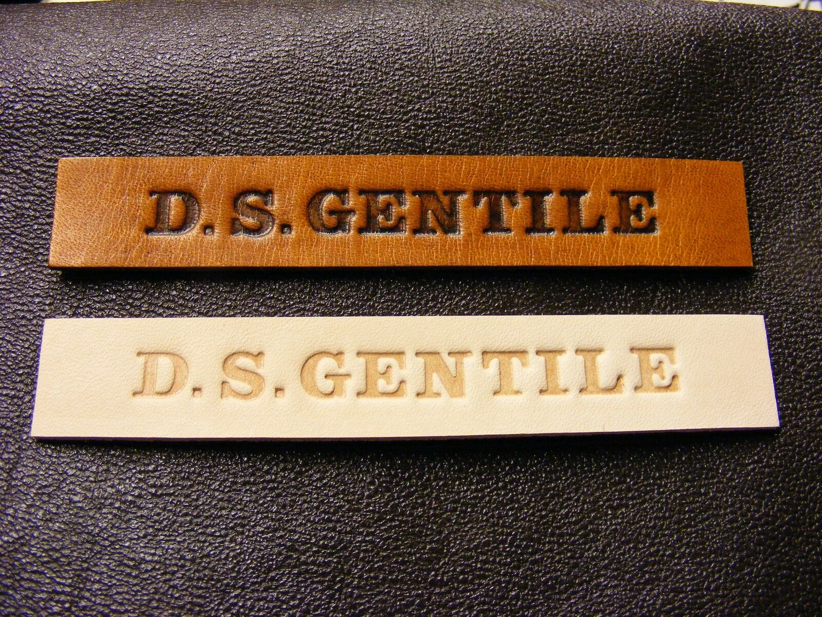 Leather flight jacket name tags