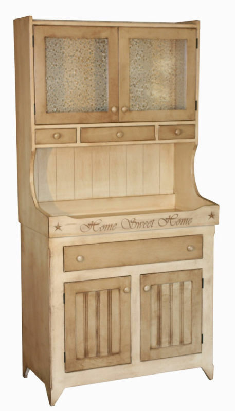 Amish Kitchen Hutch Buffet Country Cottage Bakers Rack Pantry Storage Cupboar