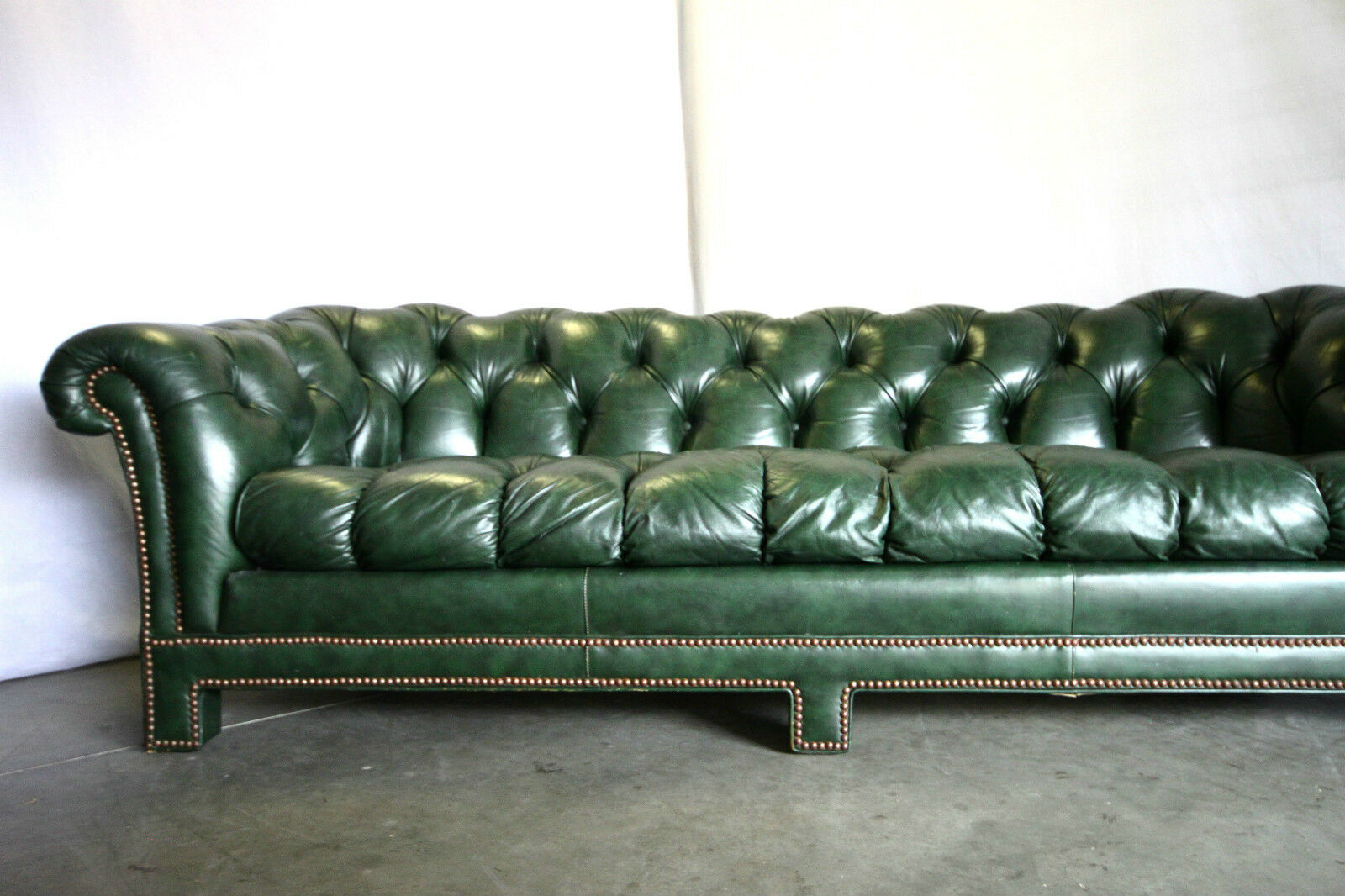 Antique Vtg Forest Green Leather Chesterfield Sofa Industrial Brass Nail Heads 2