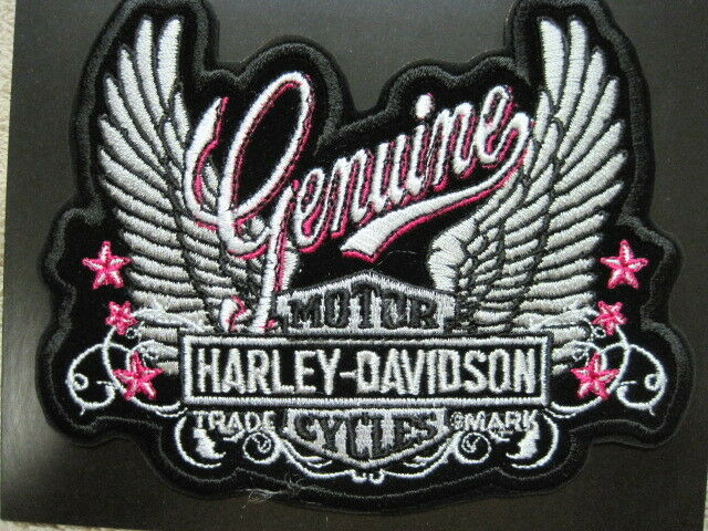 HARLEY LADY RIDER PATCH PINK GENUINE WINGS LOOK & BUY IT NOW!