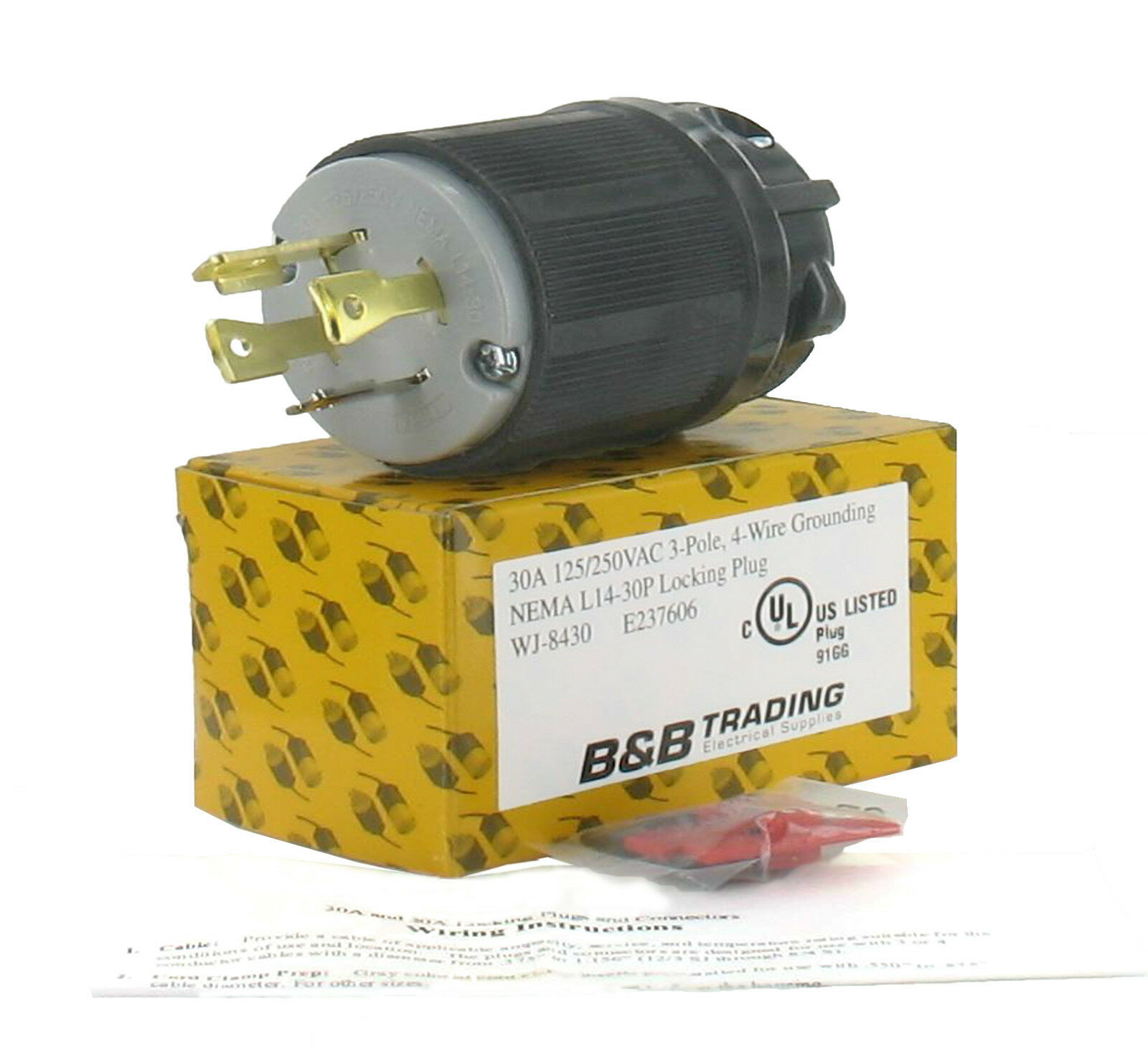 Nema L14 30 30a 125 250v 3 Pole 4w Grounding Plug W External Cord Wiring A L1430 1 Of 3only 0 Available