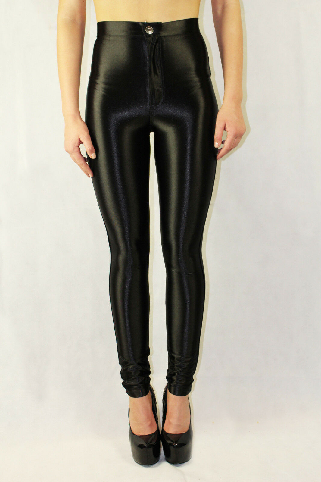 Vintage 70s 80s disco pants by Frederick's of Hollywood made of shiny black nylon/spandex. High waisted with a straight skinny leg. Every item we sell is authentic vintage and one-of-a-kind!/5(K).