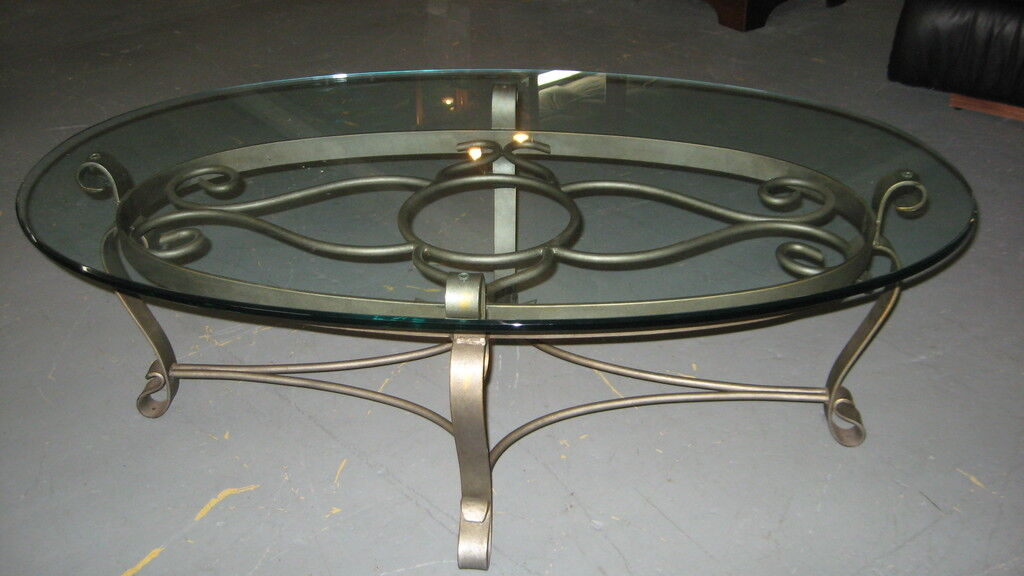Pin oval glass coffee table on pinterest for Oval wrought iron coffee table with glass top