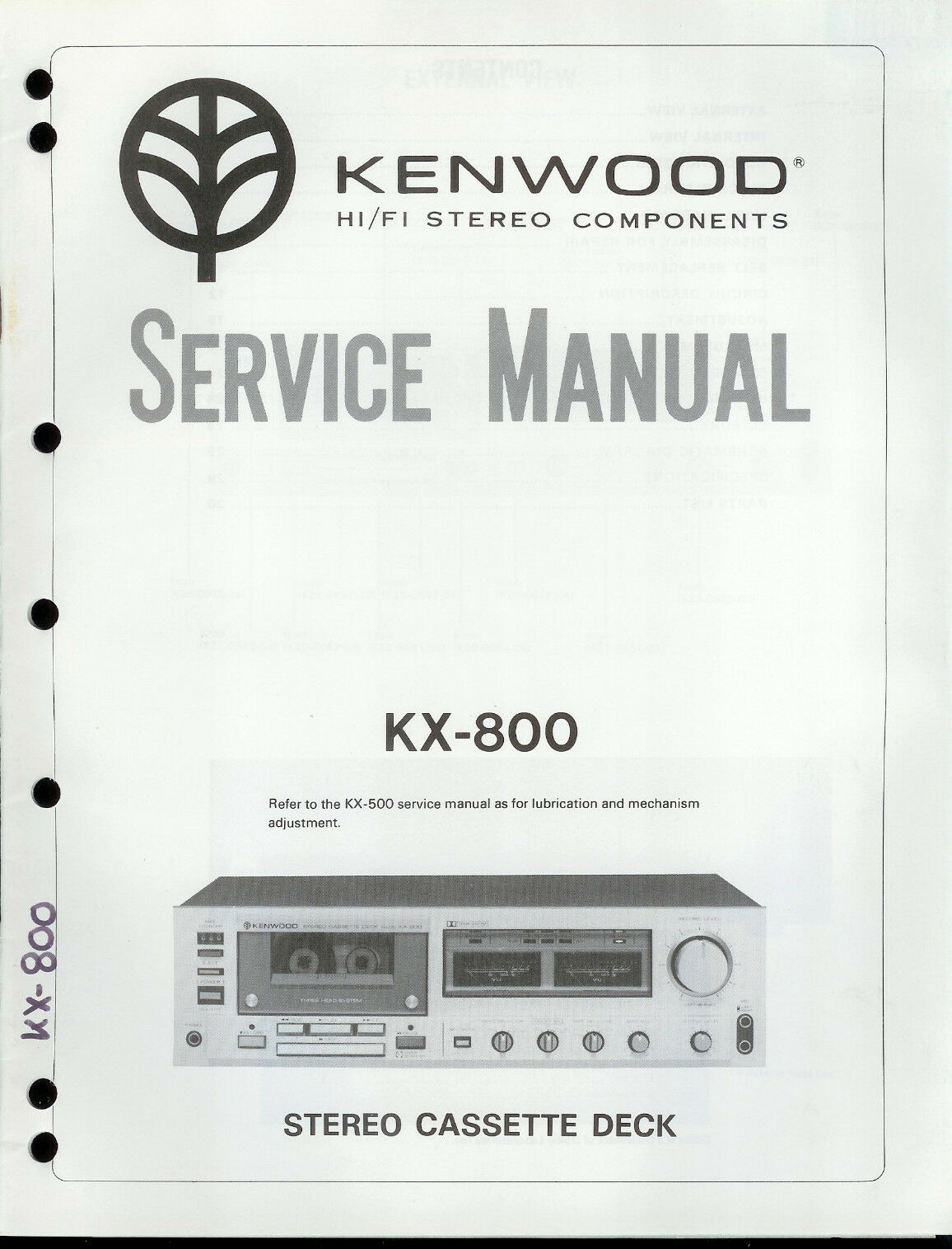 Original Factory Kenwood KX-800 Cassette Deck Service/Repair Manual 1 of  1Only 1 available ...