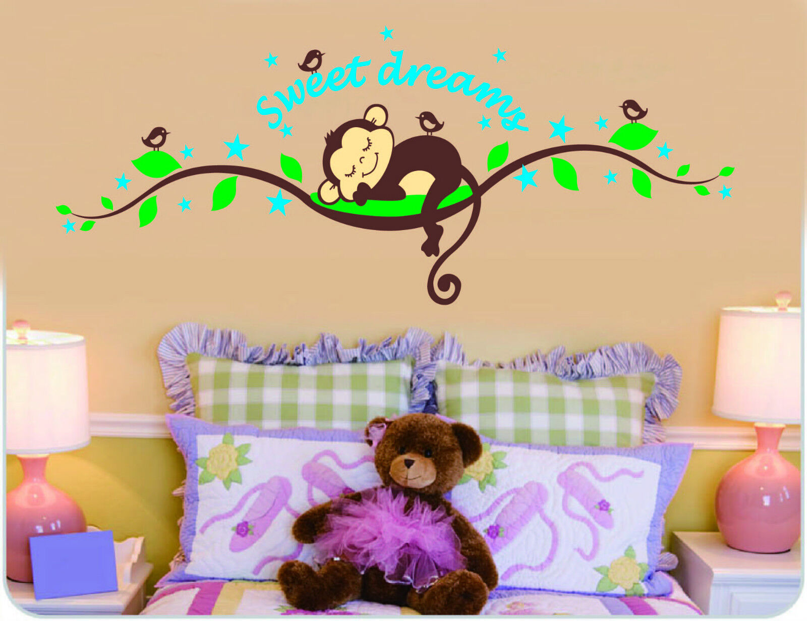 wandtattoo zooyoo affe wand sticker dschungel kinderzimmer. Black Bedroom Furniture Sets. Home Design Ideas