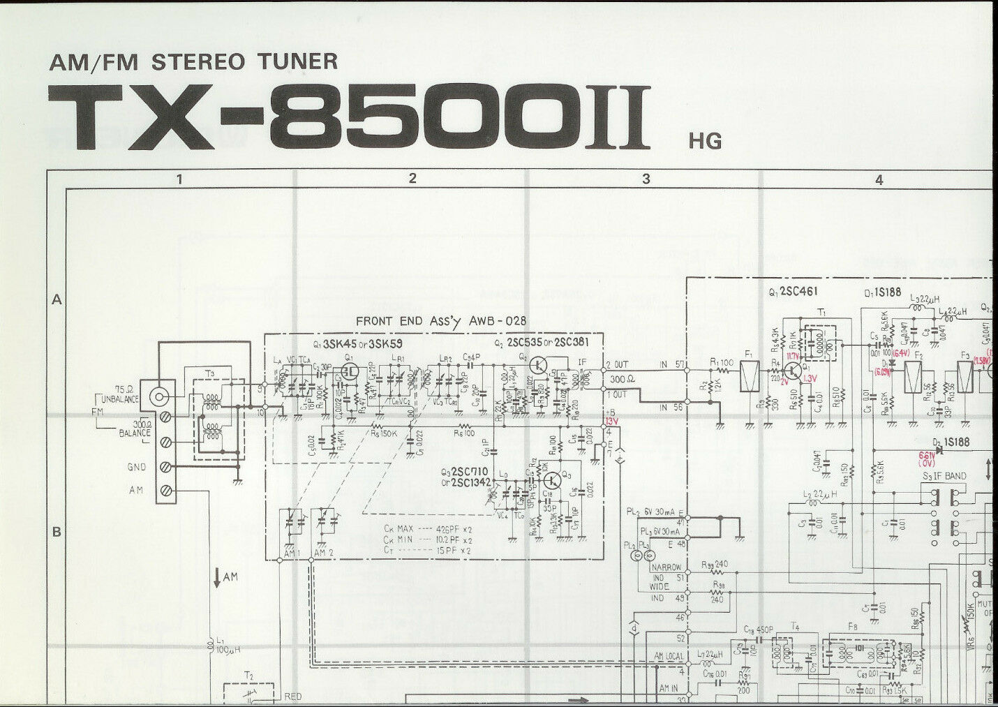 Original Factory Pioneer Tx 8500ii Hg Am Fm Stereo Tuner Schematic Voice Changer Circuit Diagram 1 Of