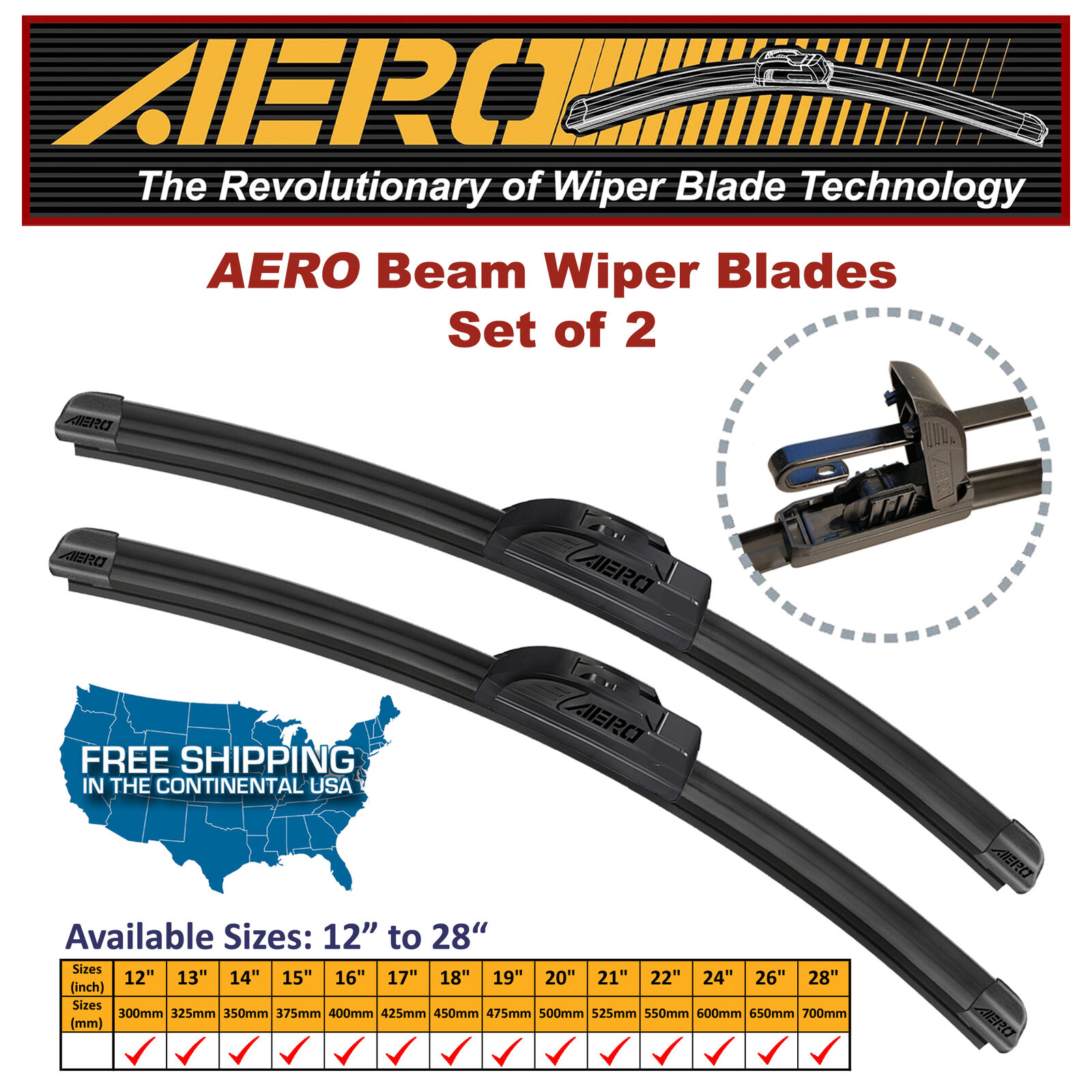 Set of 2 19 AERO Premium All-Season Windshield Wiper Blades OEM QUALITY 24