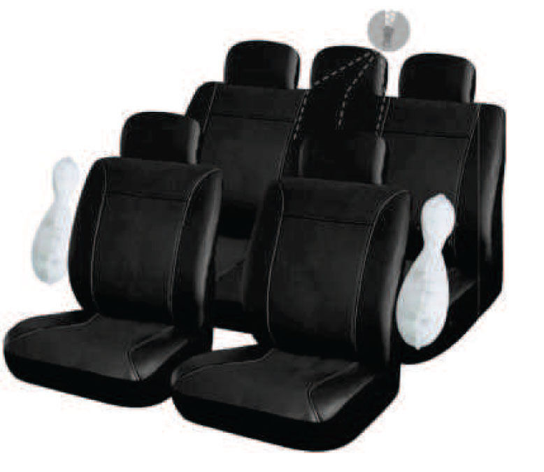housse pour siege voiture auto en simili cuir noir complete compatible airbags eur 49 90. Black Bedroom Furniture Sets. Home Design Ideas