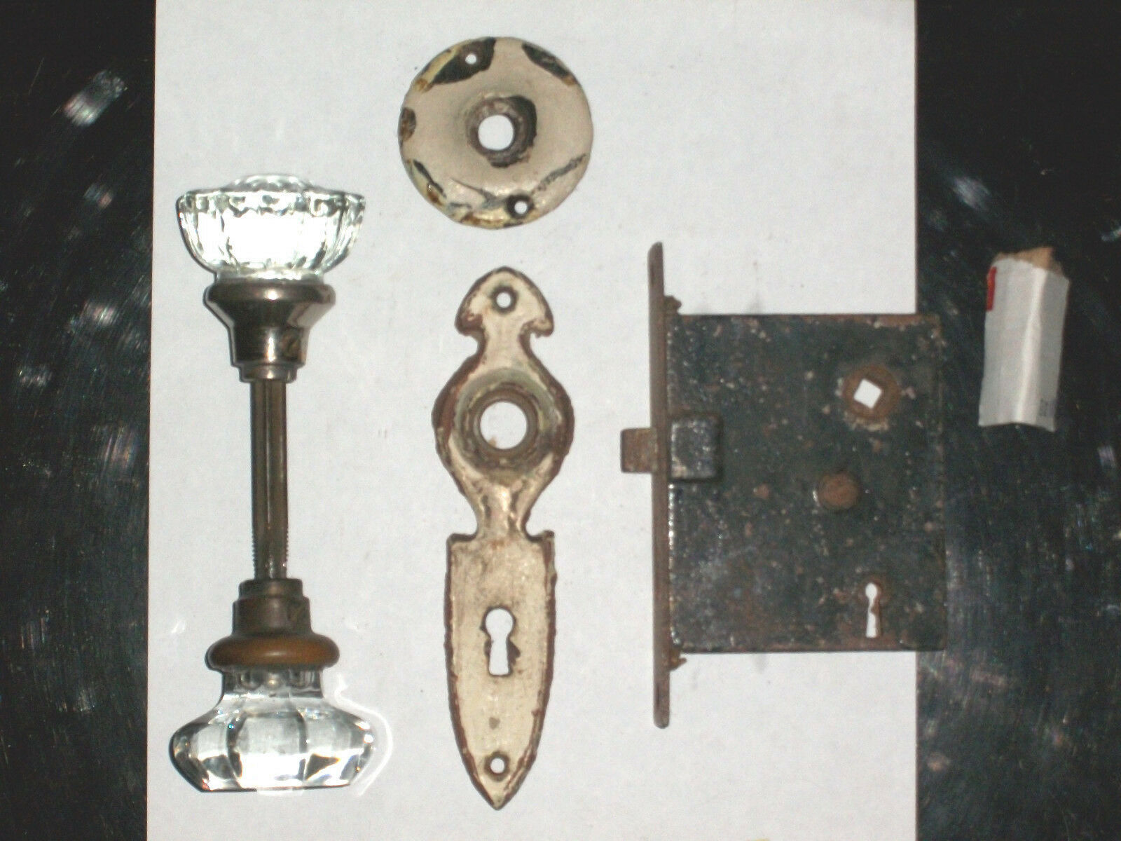 Antique Mortise Closet Lock Set  Door Backplates and Knobs