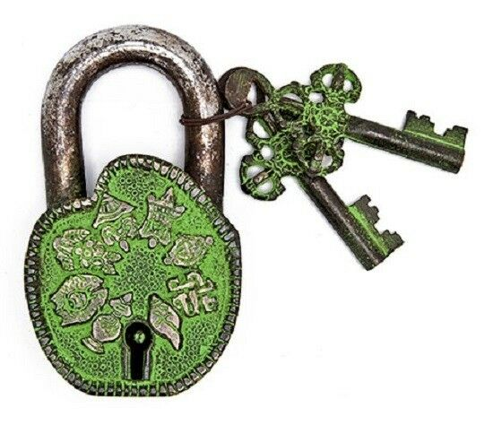 "Antiqued Green 8 Symbol Iron Reproduction Lock with 2 Keys 4"" x 2.5"" (#55)"