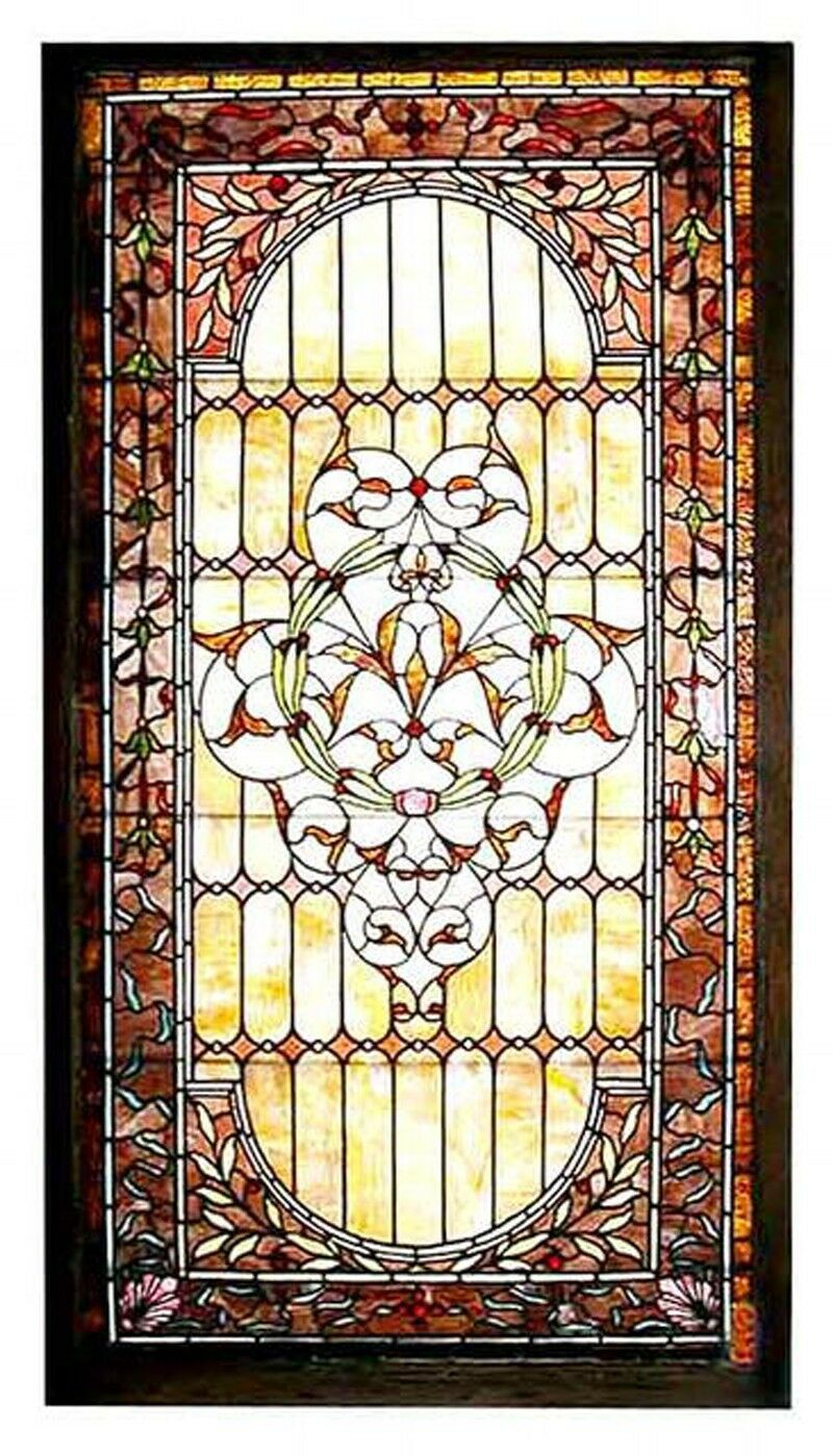 American Leaded & Stained Glass Jeweled Landing Window #5644