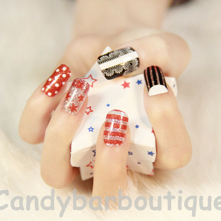 NEW* SELF-ADHESIVE QUIRKY Fun Nail Wrap Art Stickers Foil/Nail Tip ...
