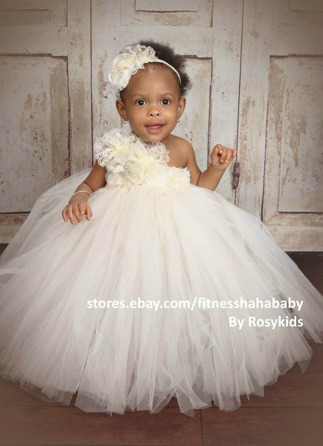 IVORY VINTAGE FLOWER girl tutu dress baby tutu dress Wedding ...