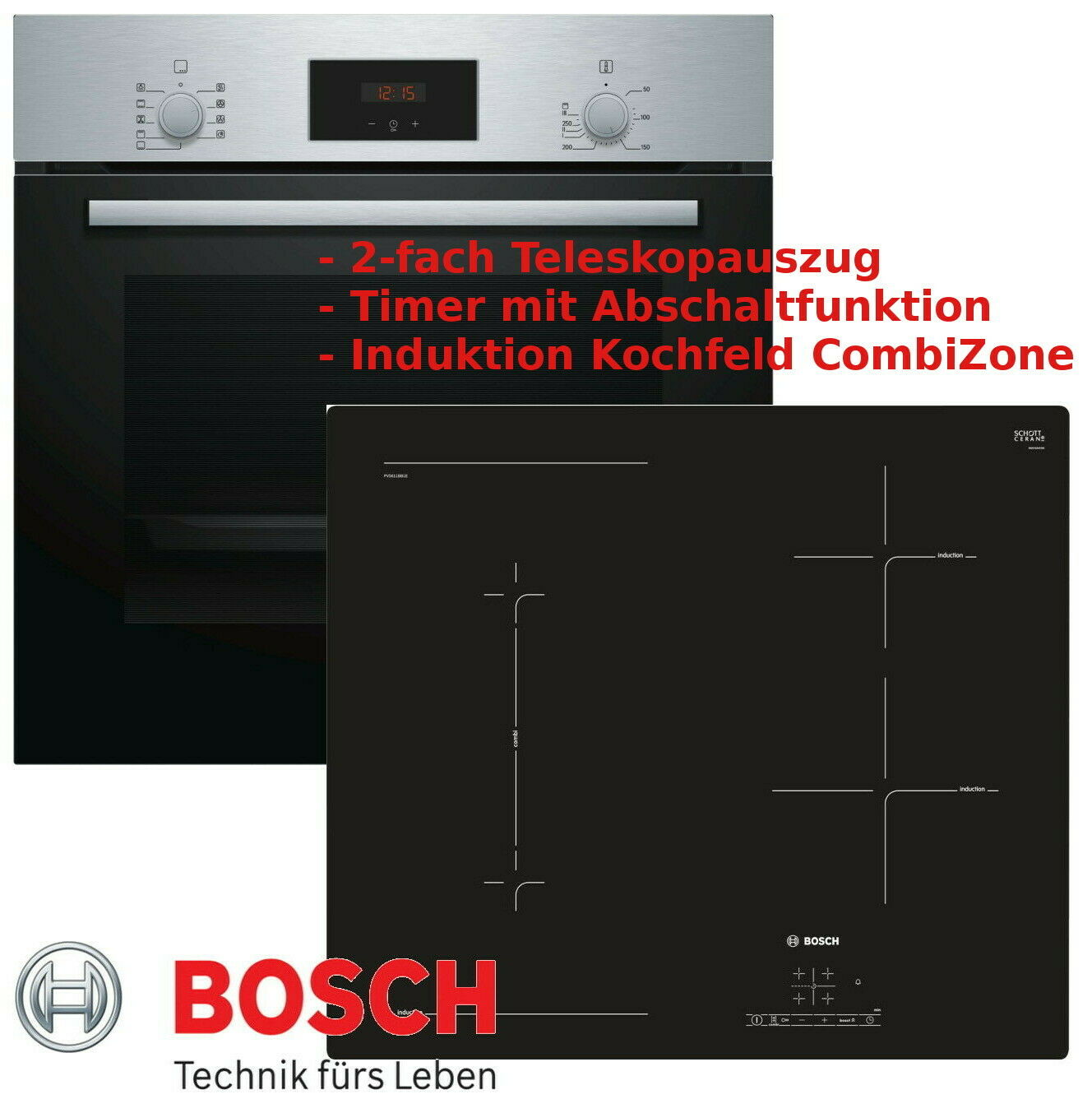 herdset induktion autark bosch einbau backofen induktion glaskeramik kochfeld eur 799 00. Black Bedroom Furniture Sets. Home Design Ideas