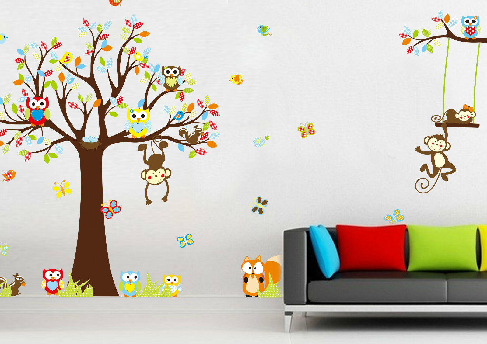 wandtattoo wandsticker kinderzimmer wandaufkleber wanddeko tiere bunt baum baby eur 12 25. Black Bedroom Furniture Sets. Home Design Ideas