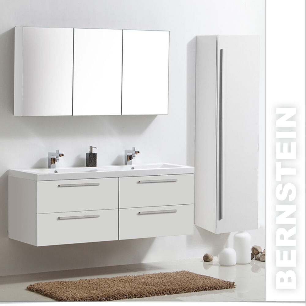 badm belset doppelwaschbecken waschtisch badezimmerm bel spiegelschrank 144cm eur 424 76. Black Bedroom Furniture Sets. Home Design Ideas
