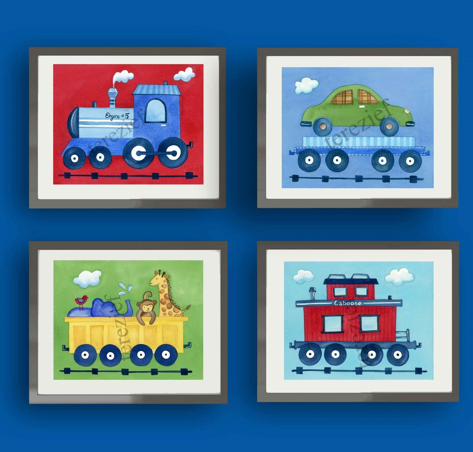 1 of 5Only 3 available ...  sc 1 st  PicClick & TRAIN NURSERY BEDDING WALL ART prints DECOR BOY KIDs CHILDREN baby ...