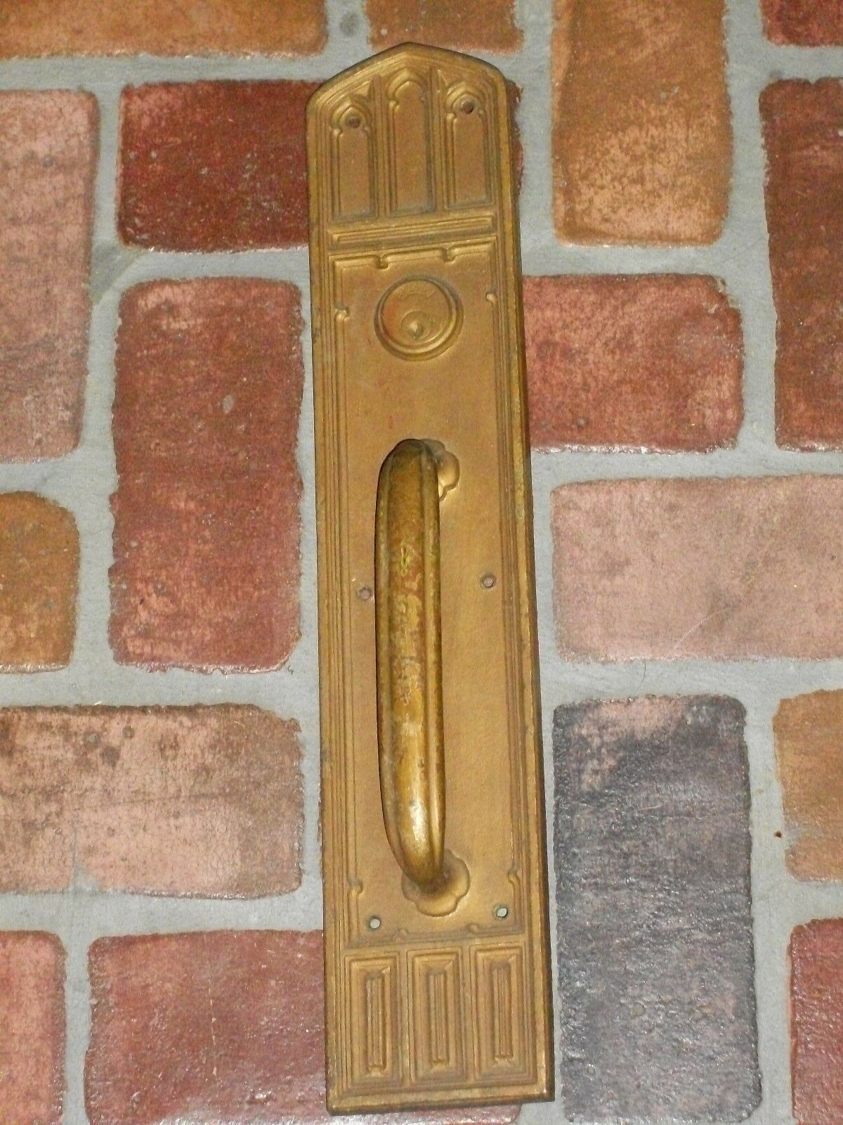 """Antique Reading & Co. Gothic Pull Handle Door plate 20"""" x 4"""""""