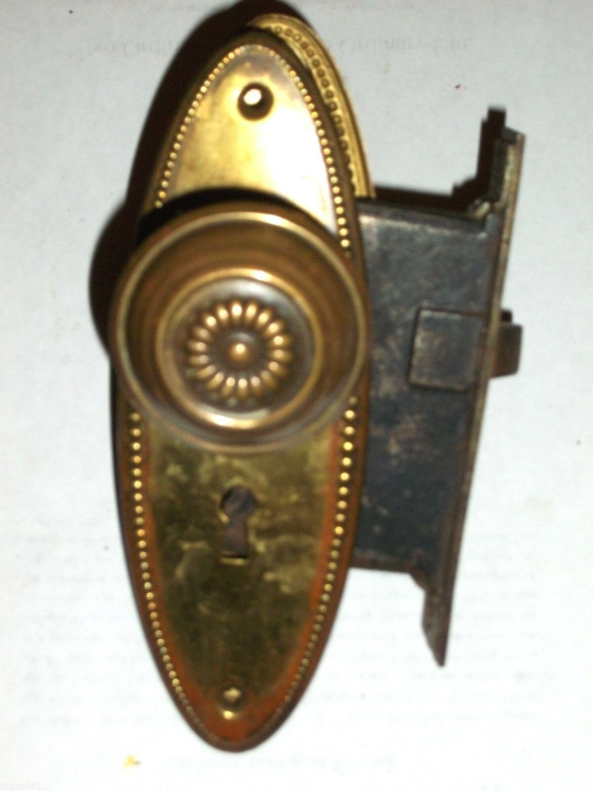 Antique Corbin Mortise Lock Egg and Dart Plates And Matching Knobs