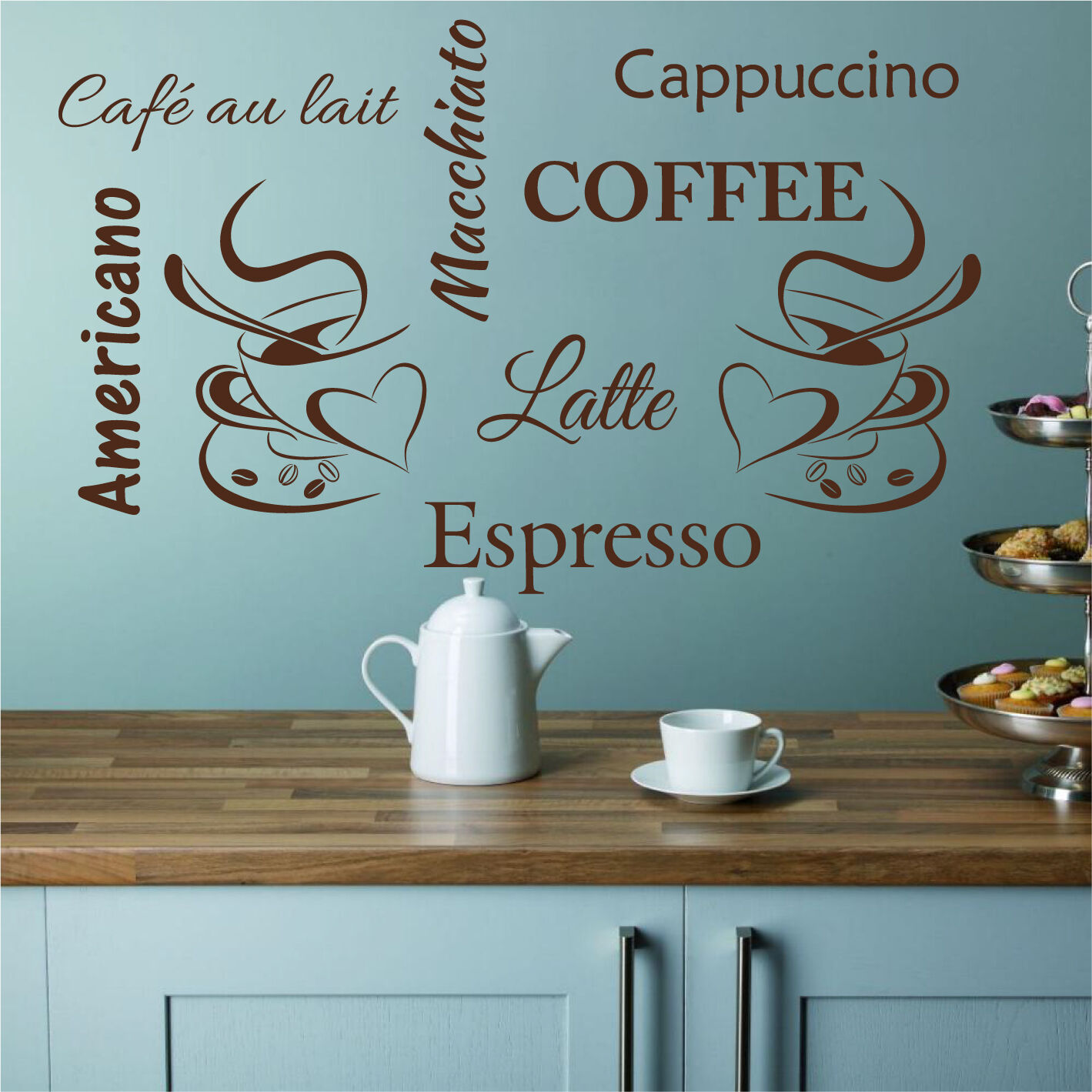 COFFEE CUPS WALL Sticker Kitchen Cup Vinyl Art Decal Transfer ...