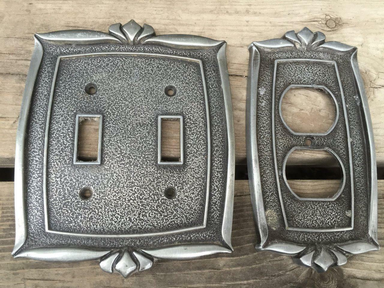 mPair Vintage Donner 1970's Metal Double Light Switch & Wall Outlet Cover ReTrO