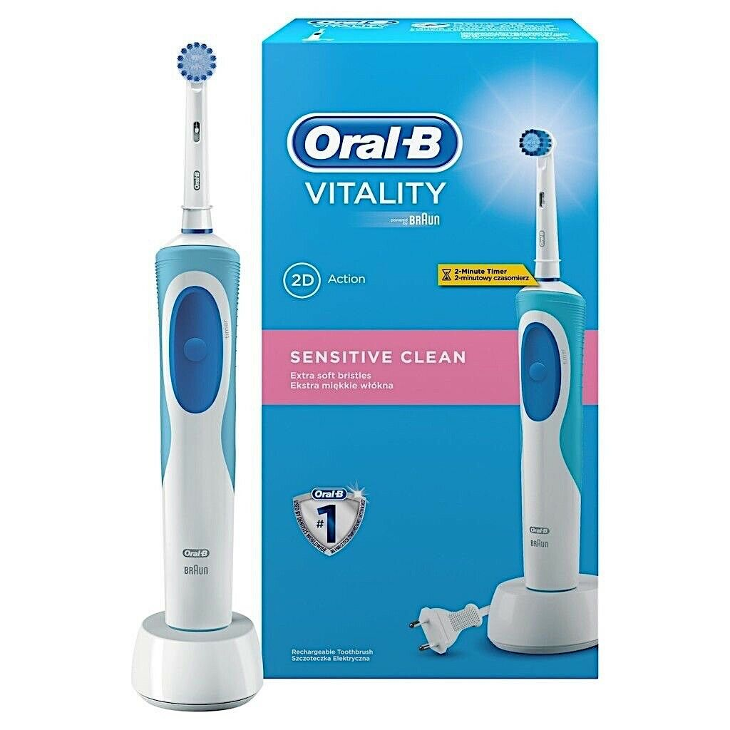 braun oral b vitality sensitive clean rechargeable electric power toothbrush new. Black Bedroom Furniture Sets. Home Design Ideas